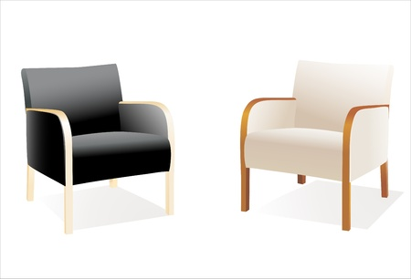 Two stylish contemporary chairs over white Vector