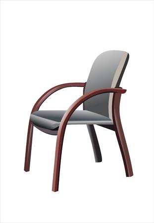 leather chair: Sedia in pelle antico isolato su sfondo bianco Vettoriali