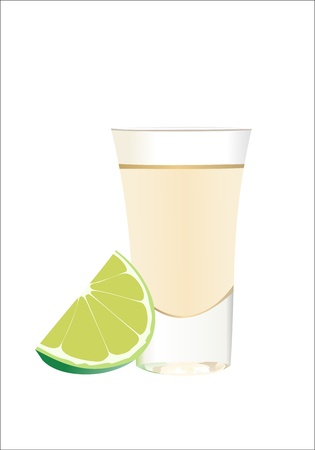 Tequila with lime and salt on white background