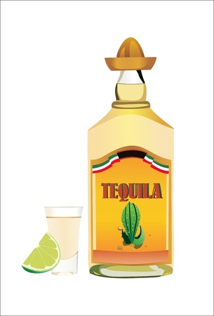 Tequila bottle with cup and lime on wite background. Illustration
