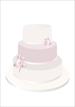 Wedding Cake Isolated On White Background.   Vector