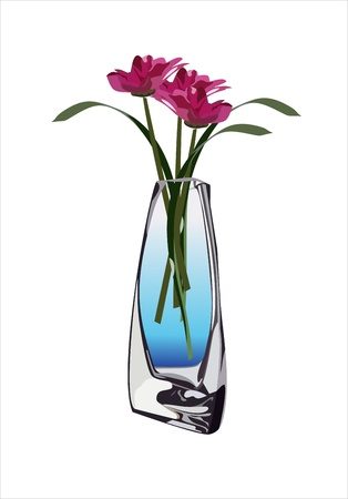 Pink flowers in a vase Vector