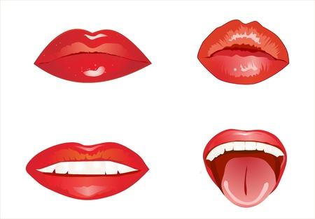 flirting: Set of glossy lips