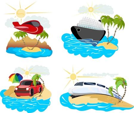 commercial activity: Travel transportation icon set  Illustration