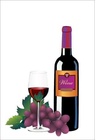 Ripe grapes, red wine glass and bottle of wine isolated on white Stock Vector - 13928853
