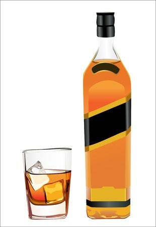 botella de licor: botella de whisky y la copa de vino