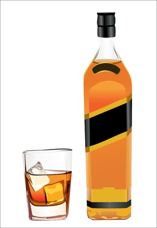 bottle whiskey and wineglass Vector