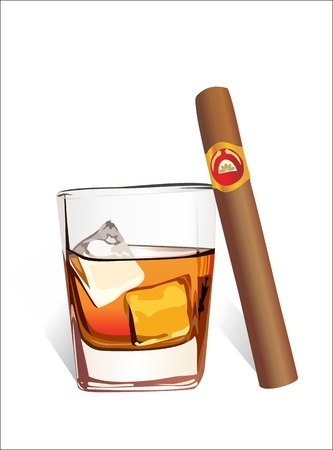 bourbon whisky: Whiskey with ice cubes and cigar, isolated on white background  Illustration
