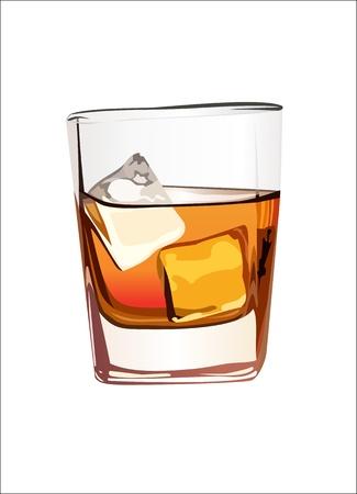 scotch: Whisky w szklance z lodem na białym Ilustracja
