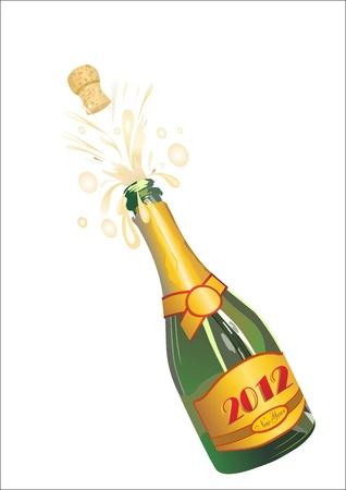 botella champagne: Champagne Botella Uncorked 2012 Vectores