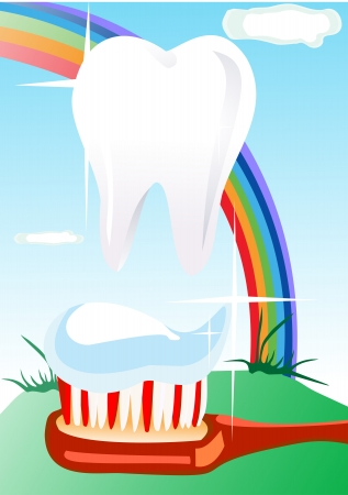 white teeth and healthy smile on the background of the rainbow Vector