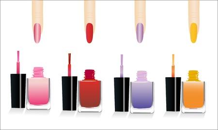 set of 4 glossy nail polish and nails Vector