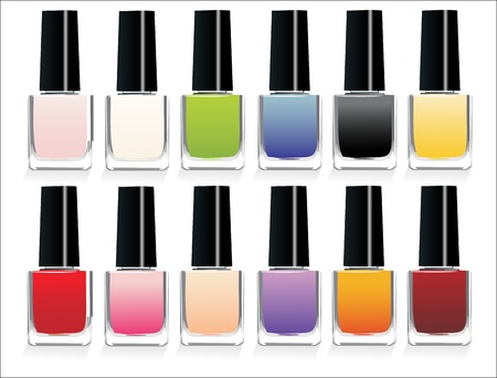 cosmetic lacquer: Varnish for nail insulated on white background Illustration