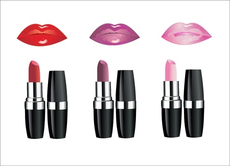 Lipstick and female lips over white Stock Vector - 13963842