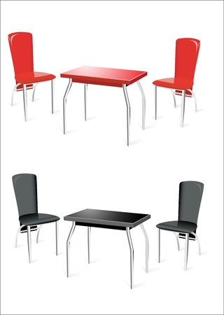 Modern table with two chairs on white background. Stock Vector - 13963846