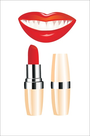 Lipstick and happy female lips over white Stock Vector - 13963775