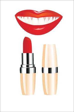Lipstick and happy female lips over white Stock Vector - 13963775