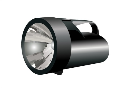 flashlight: black flashlight isolated on white background Illustration