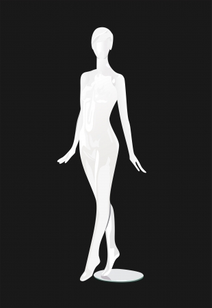 Female fashion mannequin against a black background Vector