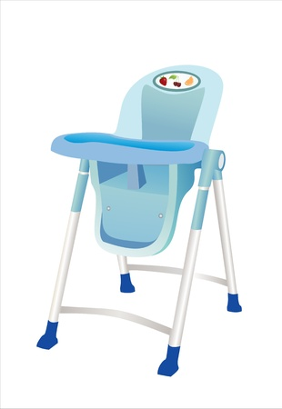 highchair: Baby s Highchair isolated with clipping path Illustration