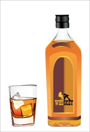 whisky: whisky bouteille et verre � vin Illustration