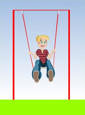 Illustration of a Kid on a Swing Vector