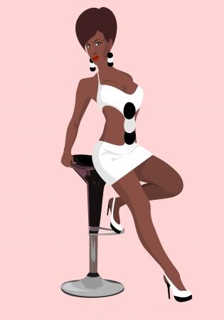sgabelli: La bella ragazza su una sedia in un abito bianco