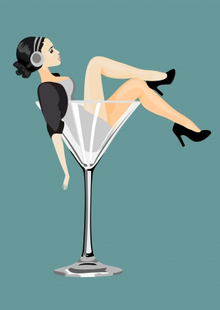 Sexy woman in martini glass