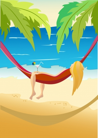 Pretty girl laying in a hammock on a sky background with sun and sea. Vector