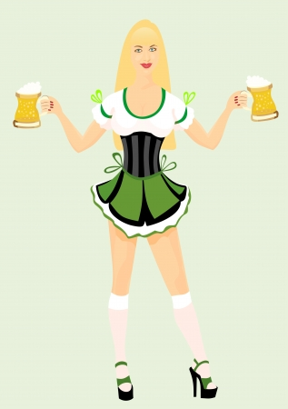 Oktoberfest girl with beer Vector