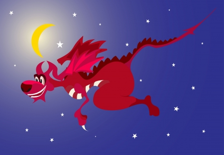 Dragon red in the star sky