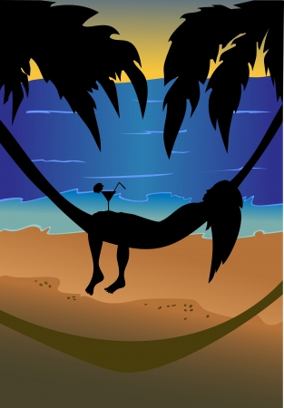 bathing suit: silhouette of a beautiful girl lying in a hammock on the background sky, palm trees and sea.