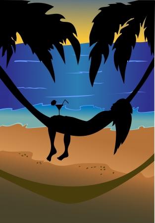 ni�as ba�andose: silueta de una hermosa ni�a acostado en una hamaca en el fondo del cielo, las palmeras y el mar. Vectores