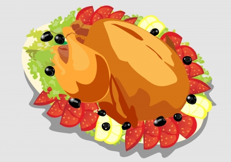 illustration of roasted holiday turkey on platter with garnish Vector