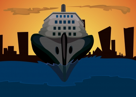 The ship and background of a night city Vector
