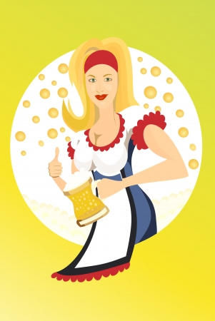 Bavarian Oktoberfest beauty girl with beer  Vector