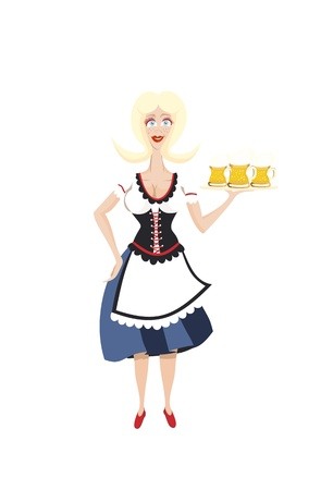 October fest girl with beer  Vector