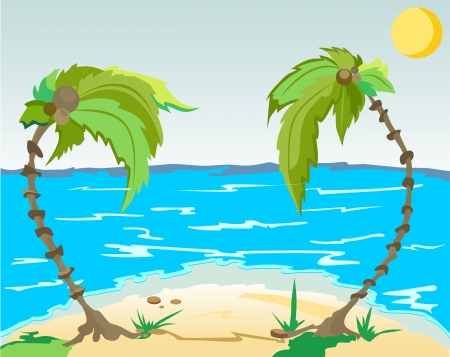 Island with palm trees Stock Vector - 14199313