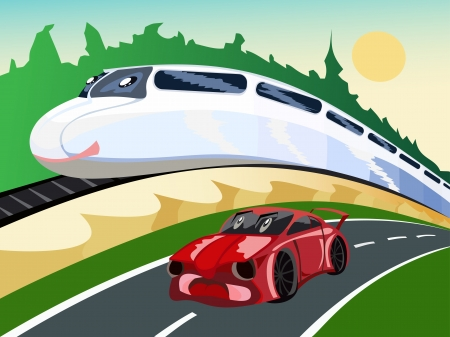 Train and the car, races Vector