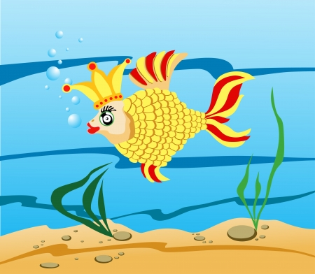Gold fish and crown  Vector