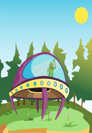ufos: U F O  forest in the background Illustration
