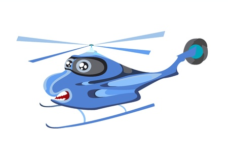 blackhawk helicopter: Flying a helicopter on a white background Illustration
