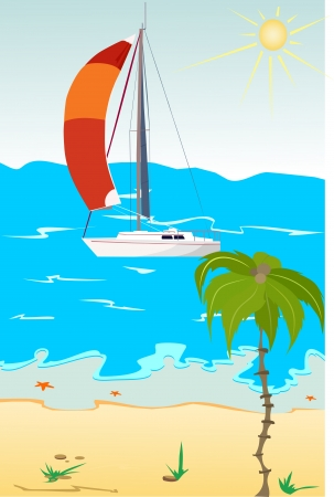 The yacht in red sails at the sea in the background  Palm tree in the foreground  The sun is shining in the sky  Stock Vector - 14199223