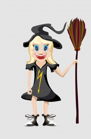The girl on Halloween Vector