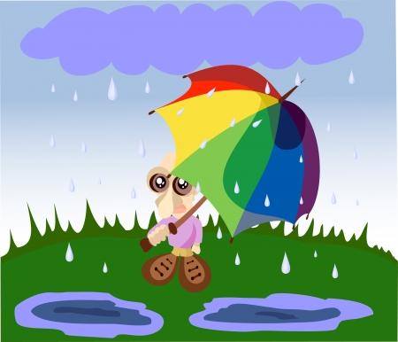 umbel: The young man under an umbrella, during a rain