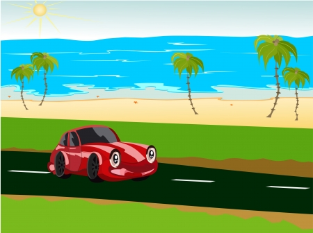 The car goes on road, palm trees, ocean
