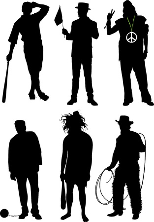 concluded: Silhouettes of men Illustration