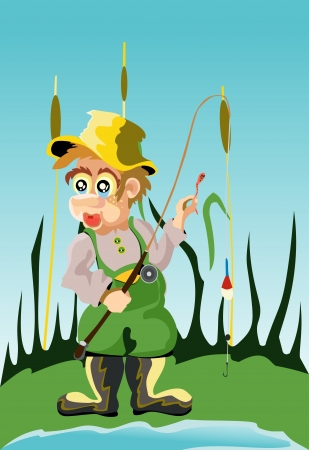 An illustration of a fisherman Vector