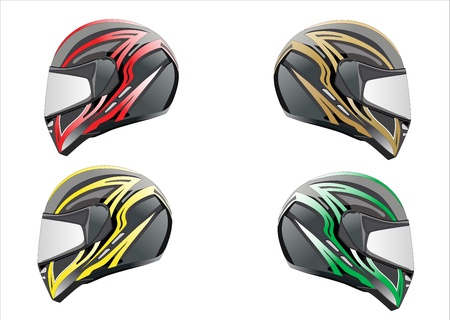 motorcycle helmet:  illustration of motorcycle helmet  Black, red and blue set