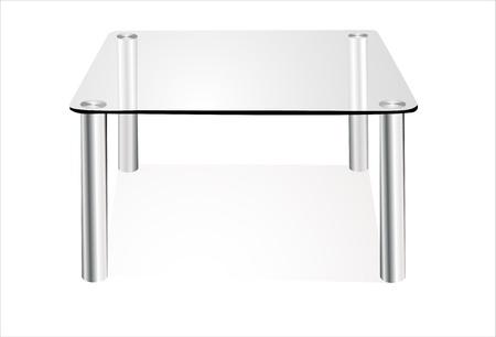 table en verre moderne isolé sur fond blanc